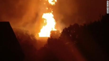 Massive gas line explosion turns sky orange