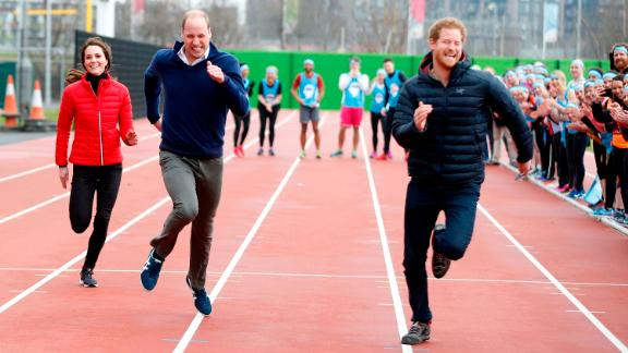 """Prince Harry and the Duke and Duchess of Cambridge competed in a race to promote the """"Heads Together"""" campaign in 2017."""