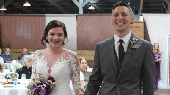 Brittany and Ryan Coleman on their wedding day in February.