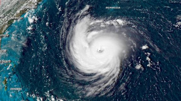 Hurricane Florence is shown in a satellite image from Tuesday afternoon.
