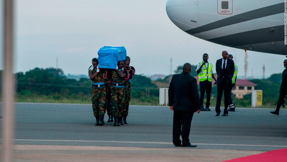 Soldiers carry the coffin of late Ghanaian diplomat Kofi Atta Annan on the tarmac of Kotoka International Airport in Accra on September 10, 2018. <br /><br />His body will remain at Accra Conference Center until the burial which will take place on Thursday, September 13 in Accra.<br />Annan was born in Kumasi, Ghana in 1938. He died on August 18, 2018 in Switzerland after a short illness. He was 80. Annan was the seventh Secretary-General of the United Nations, serving from 1997 to 2006.