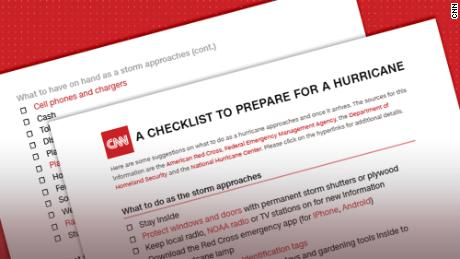 A face mask and hand sanitizer are included in the hurricane preparation checklist