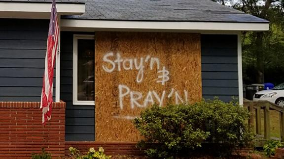 The residents of this home in Southport, North Carolina, indicate they are going to ride out the storm.
