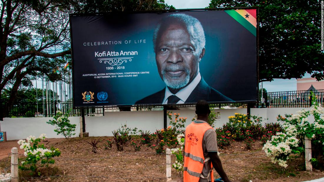 A billboard in Accra announcing the celebration of life of Kofi Annan. Funerals are huge affairs in Ghana and are celebrated, particularly when the person has died in old age.
