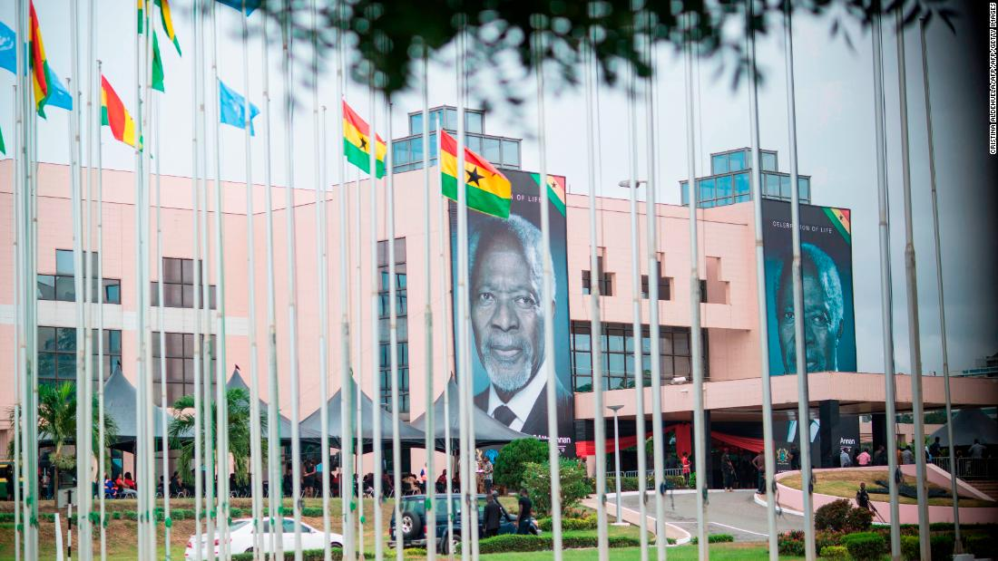 Billboards featuring Kofi Annan are displayed at the entrance of Accra International Conference Center where Annan's coffin is lying in state.