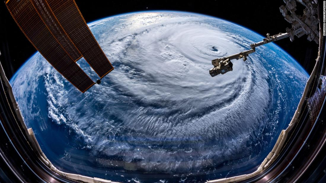 "Astronaut Gerst also <a href=""https://twitter.com/Astro_Alex/status/1039870760343543814"" target=""_blank"">posted this photo to Twitter</a> on September 12, saying, ""Watch out, America! #HurricaneFlorence is so enormous, we could only capture her with a super wide-angle lens from the @Space_Station, 400 km directly above the eye. Get prepared on the East Coast, this is a no-kidding nightmare coming for you."""