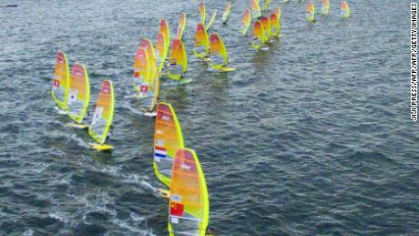 Competitors taking part in the men's RS:X class windsurfing event as part of the sailing World Cup series.