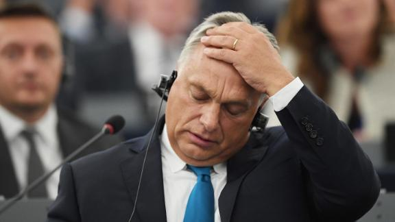 Hungary's Prime Minister Viktor Orban gestures during a debate concerning Hungary's situation as part of a plenary session at the European Parliament in Strasbourg, eastern France on September 11, 2018. (Photo by FREDERICK FLORIN / AFP)        (Photo credit should read FREDERICK FLORIN/AFP/Getty Images)