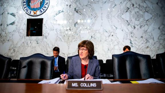 Sen. Susan Collins (R-ME) arrives before Retired Vice Adm. Joseph Maguire testifies during a Senate Intelligence Committee hearing to be confirmed as the director of the National Counterterrorism Center, on Capitol Hill, on July 25, 2018 in Washington, DC. (Al Drago/Getty Images)