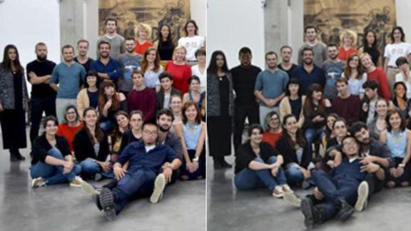 The original picture of the fifth-year students (L) and the doctored one (R). The reference image is a slightly different moment from the manipulated one, taken within a series of photos.