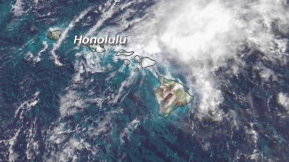A satellite image shows Tropical Storm Olivia as it moves into the Hawaiian islands on Wednesday.
