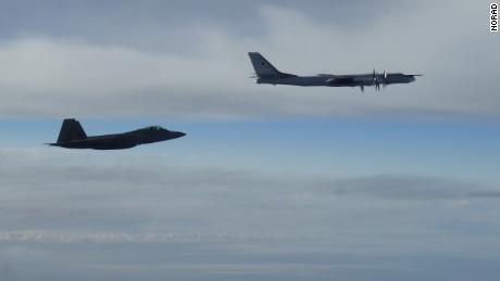 "Two NORAD F-22 ""Raptor"" fighter jets positively identified and intercepted two Russian Tu-95 ""Bear"" bombers at approximately 10 p.m. EDT Tuesday, September 11. The Russian bombers intercepted west of mainland Alaska were accompanied by two Russian Su-35 ""Flanker"" figher jets.  the Russian aircraft remained in international airspace and at no time did the aircraft enter United States or Canadian sovereign airspace."