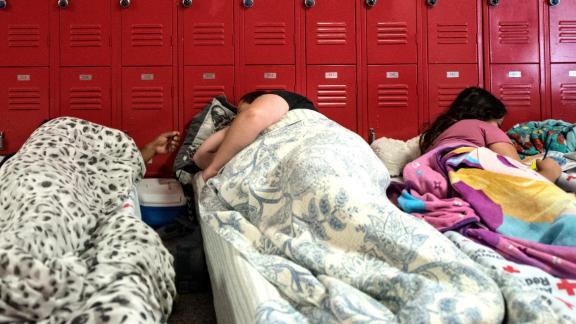 Evacuees take refuge at Burgaw Middle School in Burgaw, North Carolina, on September 12.