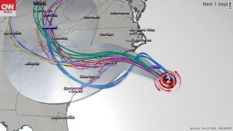 This computer model shows a variety of potential tracks for the hurricane, including potential landfalls.