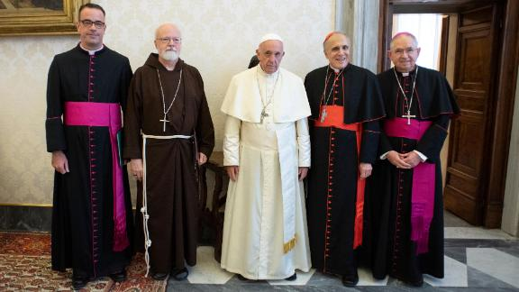 The Pope meets a US delegation, led by Cardinal Daniel DiNardo, second from right.