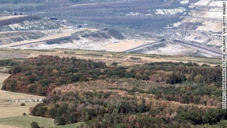 The Hambach open-cast mine and the remainder of the ancient Hambach Forest are pictured in September.