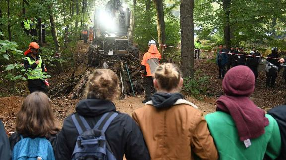 Activists stand on a forest path in Hambach Forest on Thursday.
