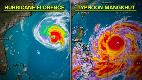 Satellite images from Wednesday show the comparative sizes of Florence and Mangkhut.