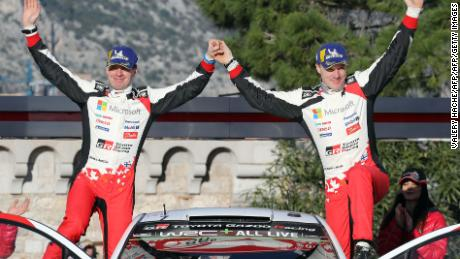 Jari Matti Latvala and co-driver Miikka Anttila celebrate third place at the 2018 Monte-Carlo Rally