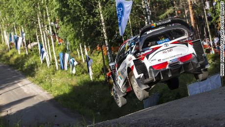 Driver Jari-Matti Latvala of Finland and his co-driver Miikka Anttila steer their TOYOTA Yaris WRC during the Neste Rally