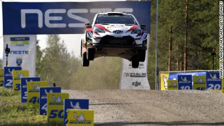 Finnish driver Jari-Matti Latvala and co-driver Miikka Anttila get airborne with their Toyota Yaris WRC car during the Ruuhimäki 1 Special Stage of the WRC Rally Finland near Jyväskylä, Finland on July 29, 2018. (Photo by Markku Ulander / Lehtikuva / AFP) / Finland OUT        (Photo credit should read MARKKU ULANDER/AFP/Getty Images)