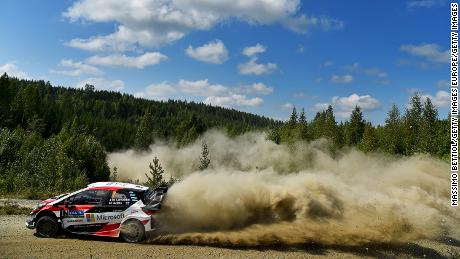 JYVASKYLA, FINLAND - JULY 28:  Jari Matti Latvala of Finland and Mikka Anttila of Finland compete in their Toyota Gazoo Racing WRT Toyota Yaris WRC during Day Three of the WRC Finland on July 28, 2018 in Jyvaskyla, Finland.  (Photo by Massimo Bettiol/Getty Images)