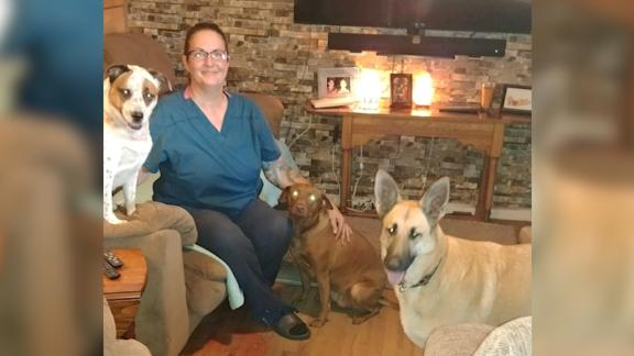 Christine Meinhold with her dogs