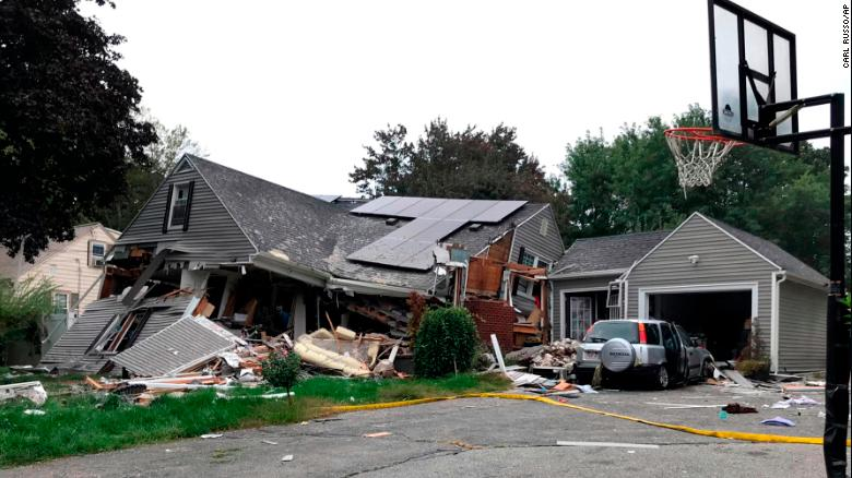 A residence in Lawrence Massachusetts is reduced mostly to rubble Thursday after a series of explosions.