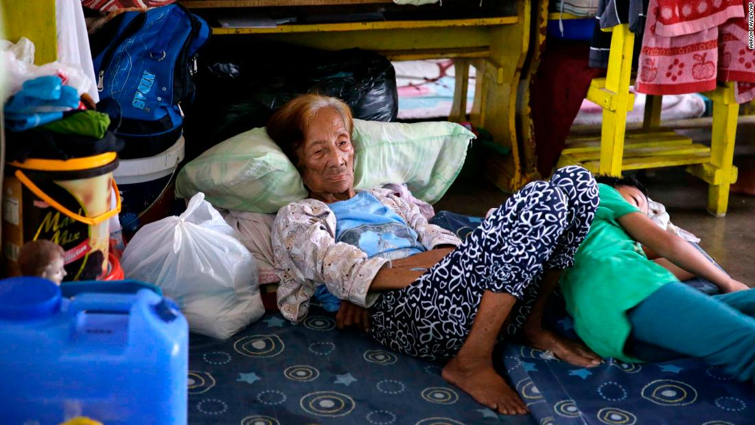 An evacuee rests inside an evacuation center in Tuguegarao City on September 14.