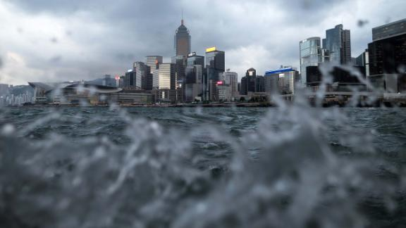 High-rises are visible above choppy waters in Hong Kong