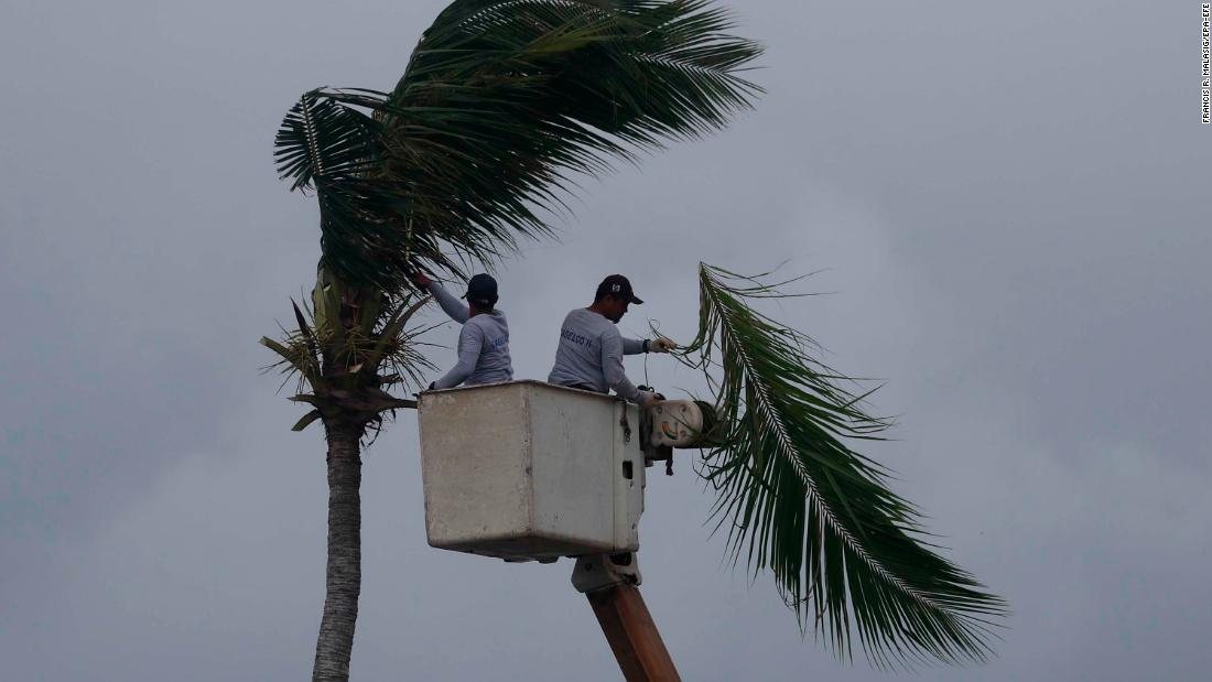 Villagers from Aparri cut tree branches on September 14 in preparation for the massive storm.