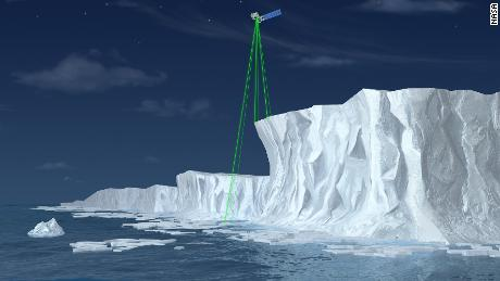 Illustration of ICESat-2, a mission to measure the changing height of Earth's ice.