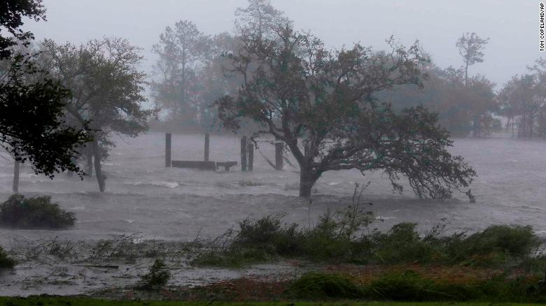 High winds and a storm surge from then-Hurricane Florence hit Swansboro, North Carolina, on Friday.