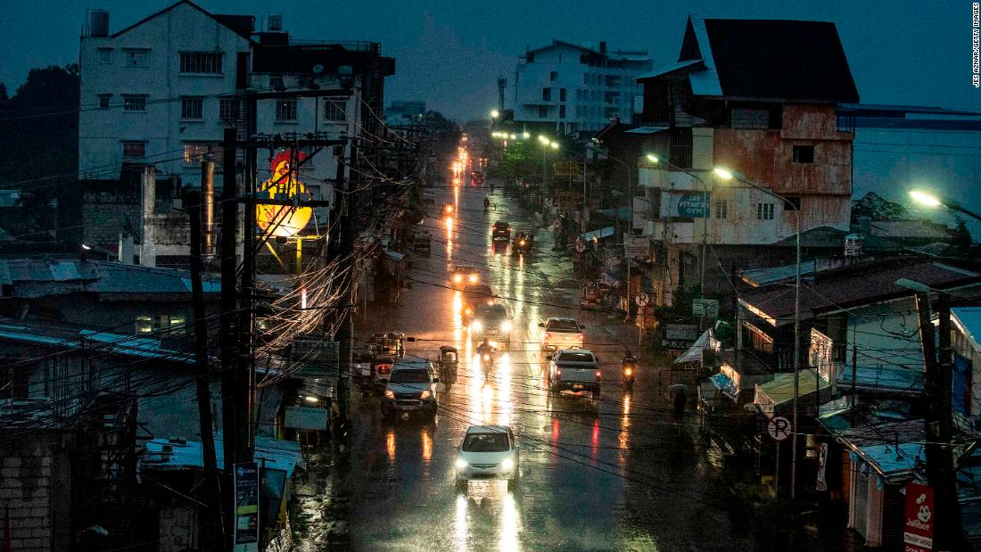Heavy rain falls in Tuguegarao City, northern Philippines. Super Typhoon Mangkhut made landfall Saturday and officials have ordered evacuations and school closures with millions of people in the storms predicted path. The category five storm would be the strongest to hit this year, with wind gusts already at 270 kilometres an hour. (Photo by Jes Aznar/Getty Images)