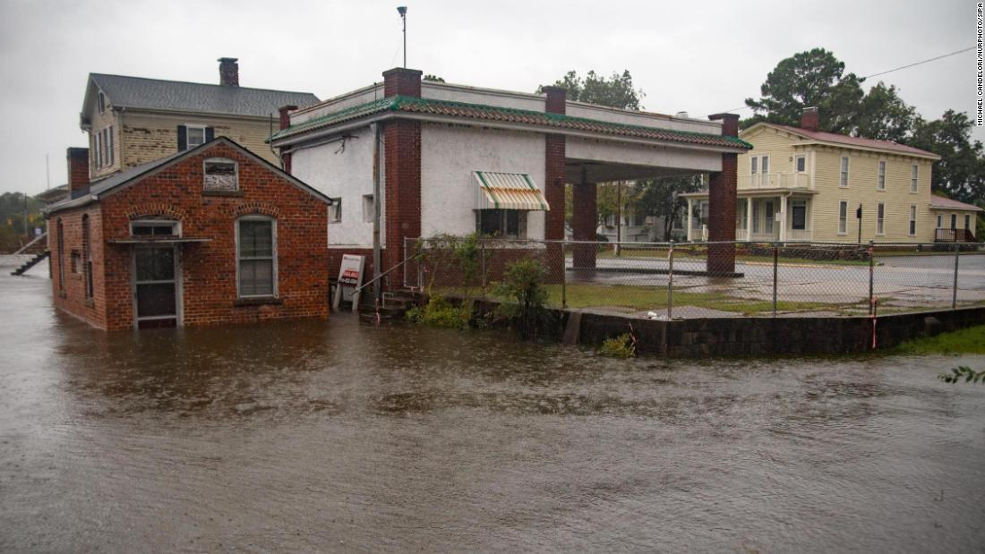 Rising waters threaten downtown Washington, North Carolina, as the Pamlico River overruns its banks on September 14.