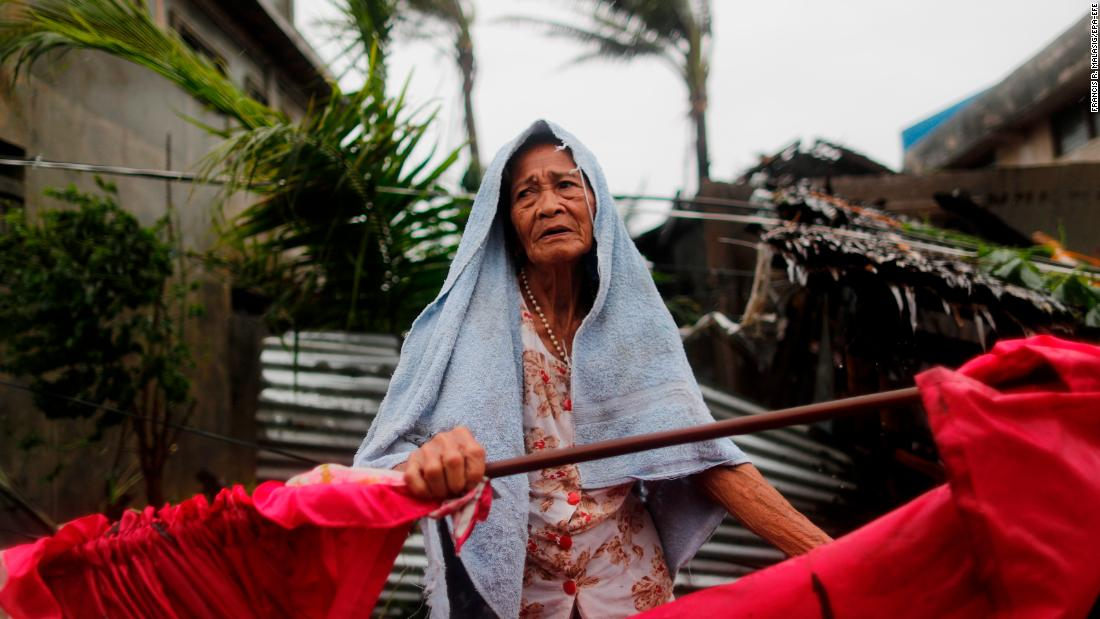 A elderly Filipino woman is seen in the typhoon-hit town of Aparri, Cagayan province, Philippines, Saturday, September 15, 2018.