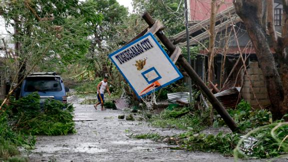 A basketball hoop is toppled in Tuguegarao City, Philippines, on September 15.