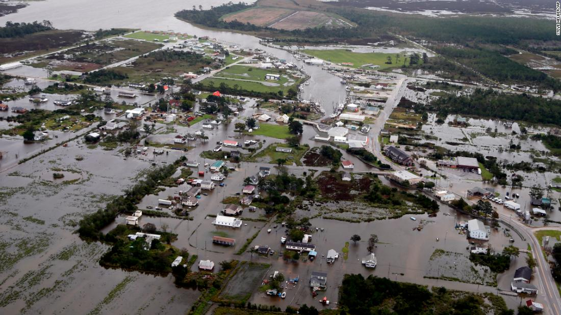 Floodwaters from Florence inundate the town of Engelhard, North Carolina, on Saturday.