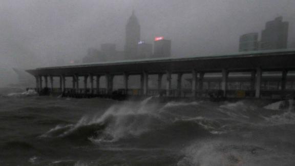 Strong winds churn waves on Hong Kong
