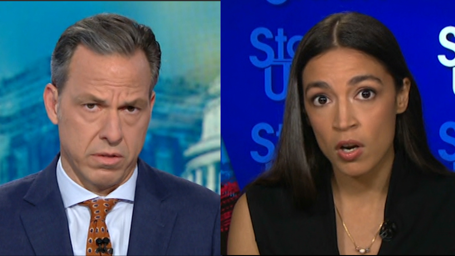 Image result for images of jake tapper and aoc
