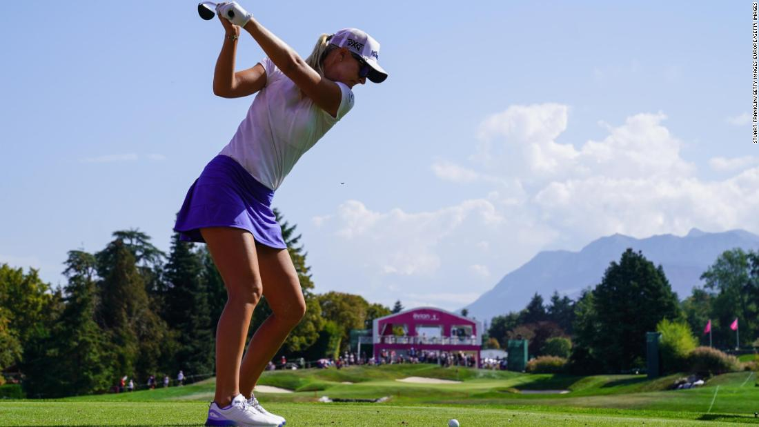 "<a href=""http://www.cnn.com/2017/09/21/sport/anna-nordqvist-evian-championship-golf-major/index.html"">Anna Nordqvist</a>, the winner at Evian in 2017, tees off from the fifth tee at the 2018 edition."