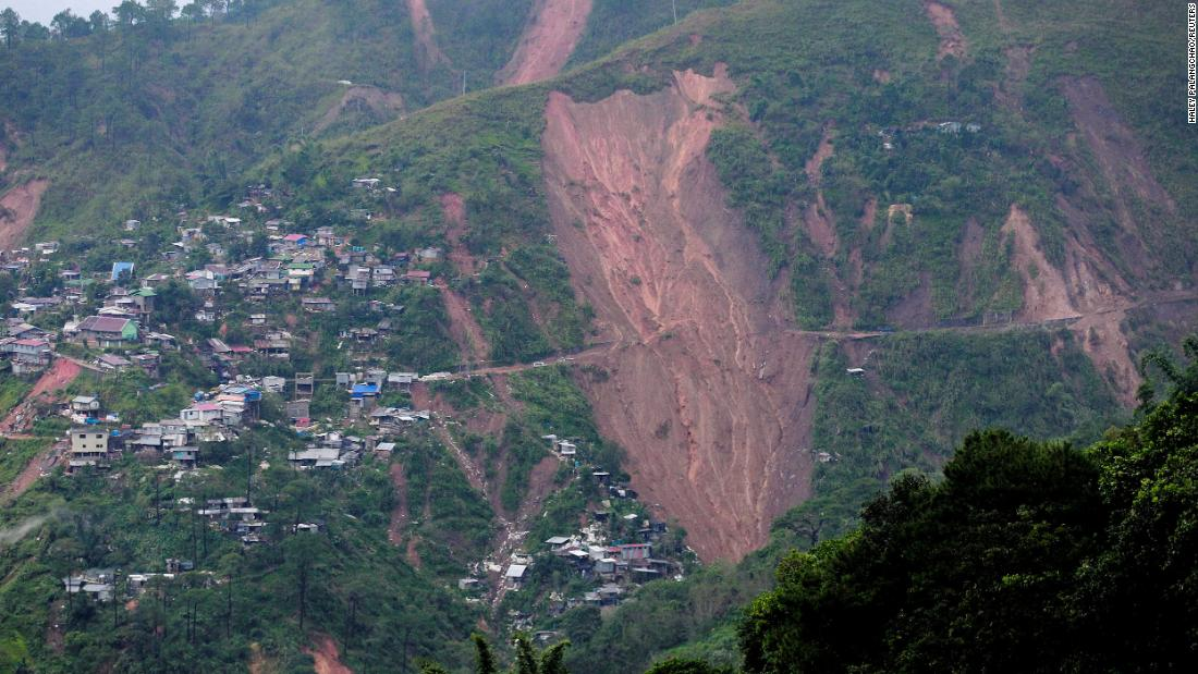 A landslide in the Benguet province in the Philippines scarred this hillside and reportedly buried people at a mining camp.