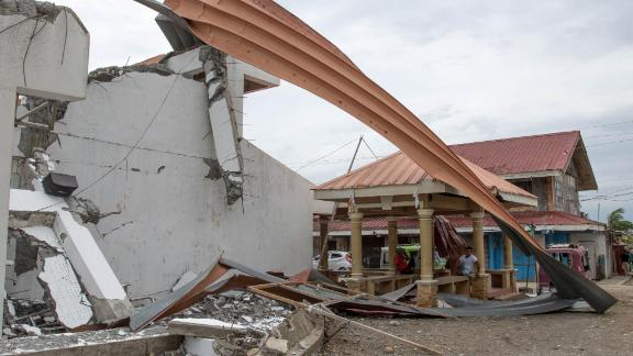 Super Typhoon Mangkhut destroyed a gymnasium used by the  community of Buguey in northern Luzon.