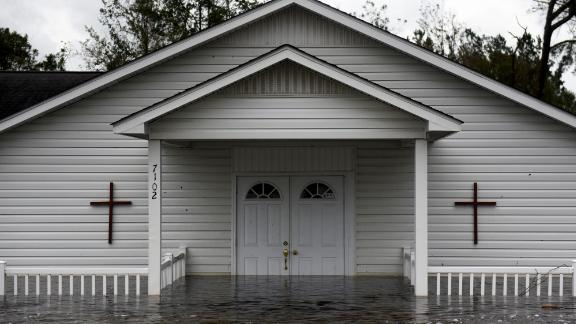 A church is partially submerged in Richlands, North Carolina, on September 16.