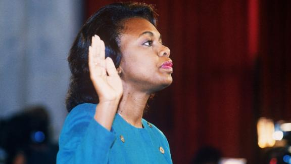 US law professor Anita Hill takes oath, Oct. 12, 1991, before the Senate Judiciary Committee in Washington D.C.. Hill filed sexual harassment charges against US Supreme Court nominee Clarence Thomas.