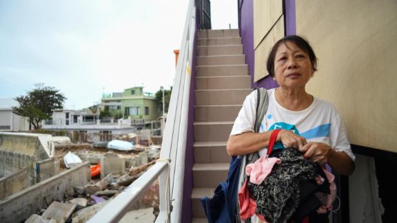 Shek O resident 65-year-old Betty Tsang returned to her home Monday morning to find that it had flooded.