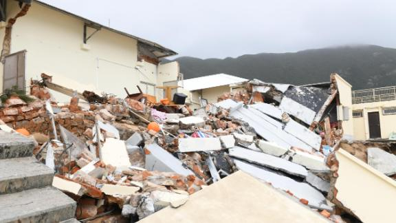 A former school in the Hong Kong village of Shek O was destroyed by Typhoon Mangkhut.