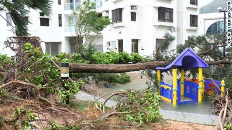 A flooded and destroyed playground in Hong Kong's Heng Fa Chuen neighborhood is seen after the storm hit.