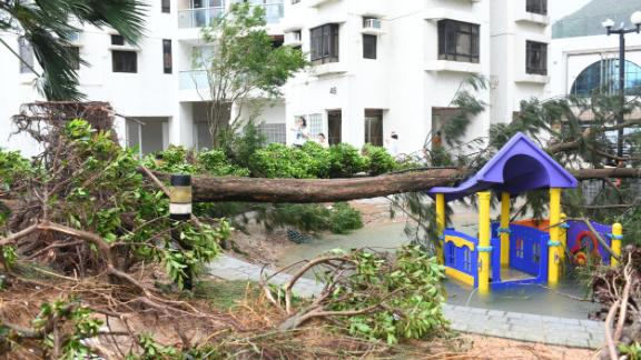 A flooded and destroyed playground in Hong Kong's Heng Fa Chuen neighborhood.