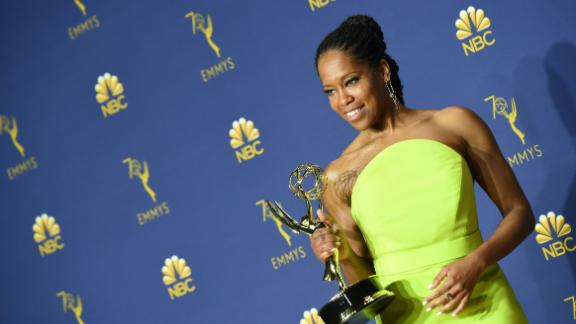 Lead actress in a limited series or movie winner Regina King poses with her Emmy during the 70th Emmy Awards